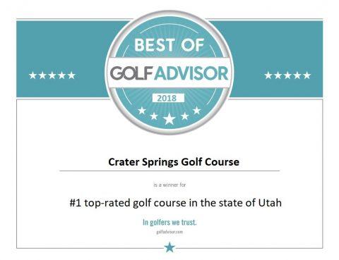 Best of Golf Advisor award for Crater Springs Utah golf course