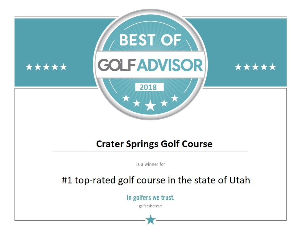 Best of Golf Advisor award for Crater Springs Utah golf course