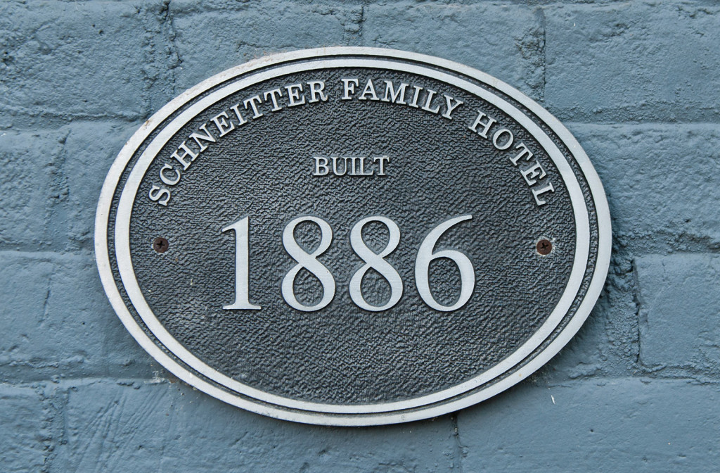 Homestead Resort plaque of establishment.