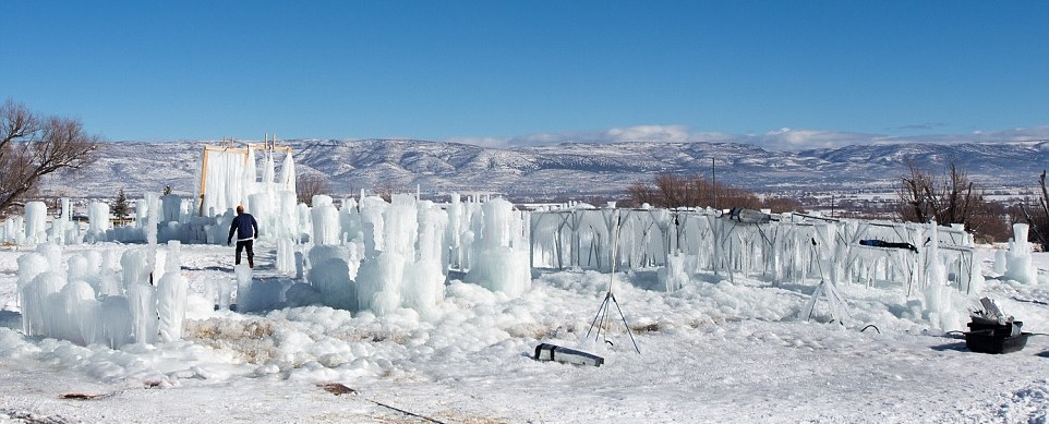 Ice Castles being built in Midway City at The Homestead Resort