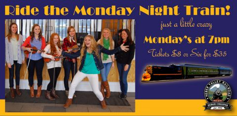 Poster for Ride The Monday Night Train Heber event at the Homestead Resort - Mondays at 7