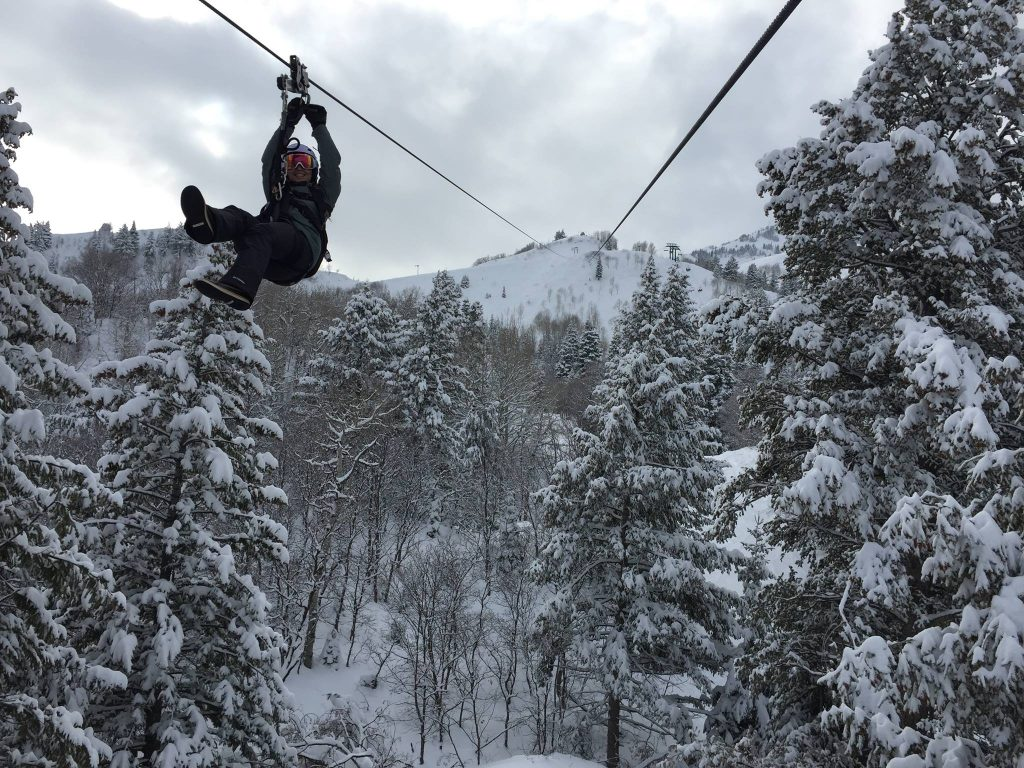 Guest on The Sundance Zipline in the winter, located near Heber Utah