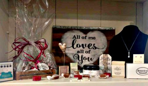 A collection of love themed gifts available at the Homestead Resort