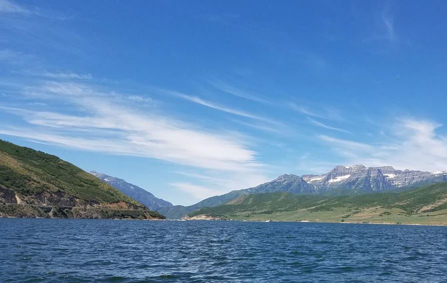 Sunny Blue Day at Deer Creek Reservoir Minutes Away From Our Moutain Hotel