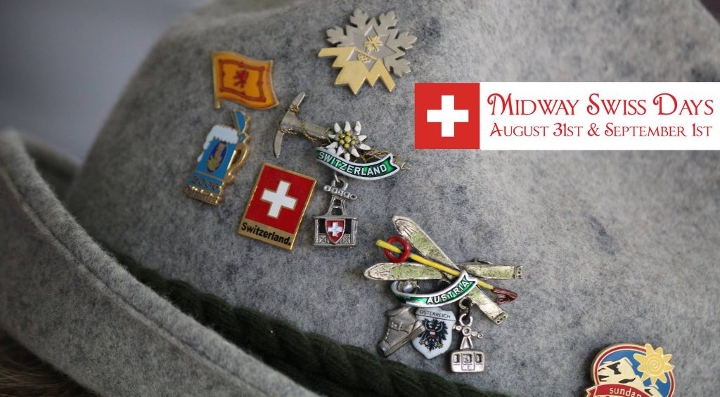 Grey hat with Swiss Pins and Midway Swiss Days logo