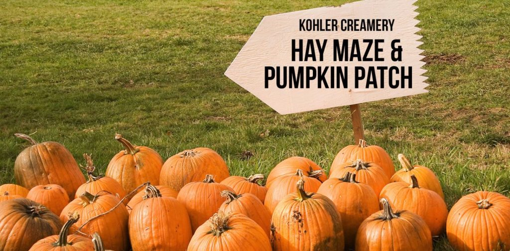 Pumpkins next to Kohler Creamery Hay & Maze & Pumking Patch Sign in Midway UT