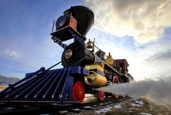 Large steam powered train celebrating the golden spike anniversary Heber Valley event