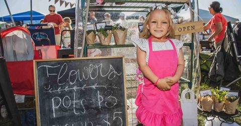 Young girl at the kids market a Heber valley event near The Homestead Resort